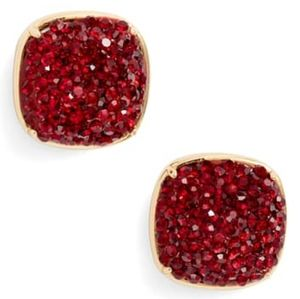 NEW Kate Spade Square Stud Earrings- Ruby Red